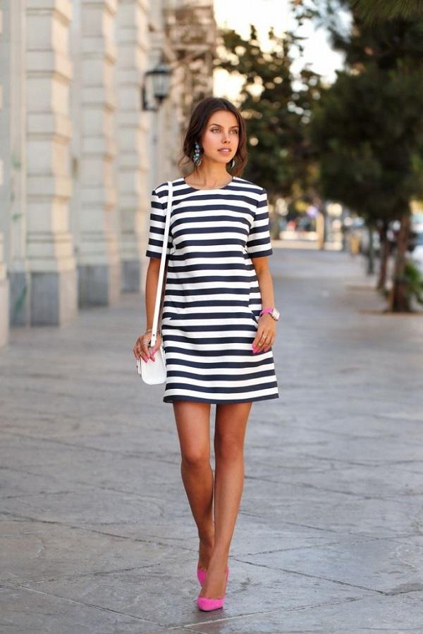 siyah çizgi desenli shift elbise